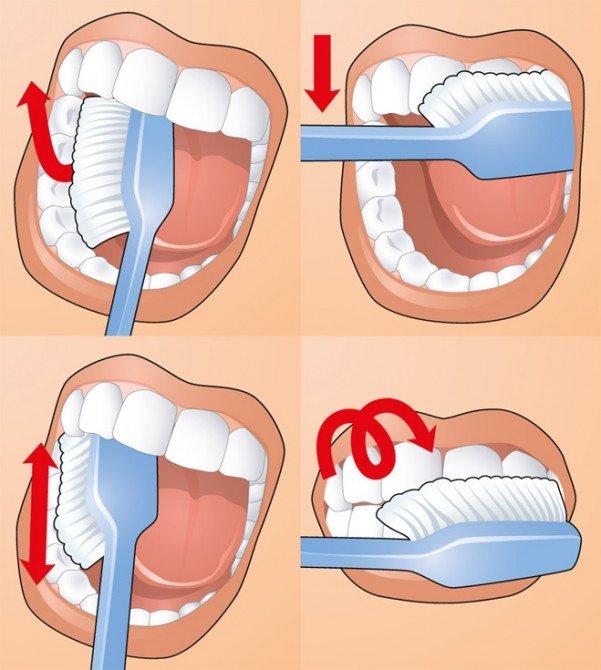 схема: как чистить зубы