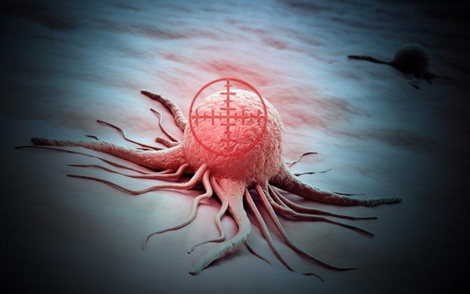 Раковая клетка и направленная на неё мишень