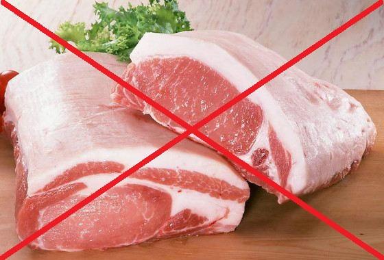 Красное мясо, перечёркнутое красным крестом