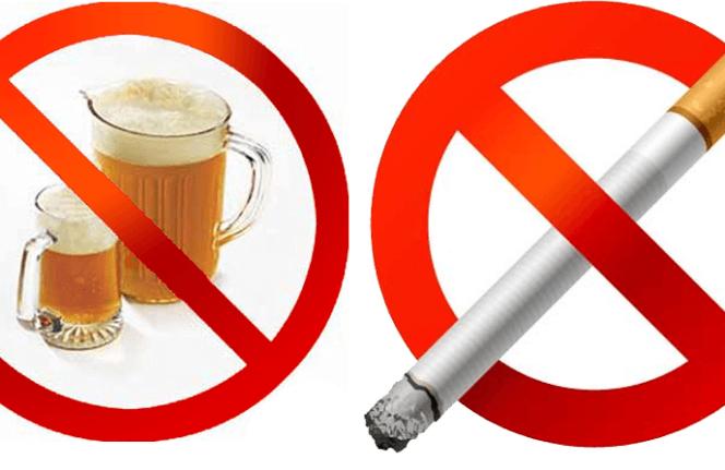 Кружки пива и сигарета в кругах, перечёркнутых красной линией