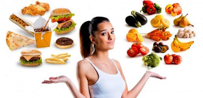девушка с вредными и полезными продуктами