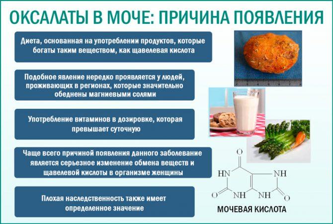 Причины появления оксалатов в моче