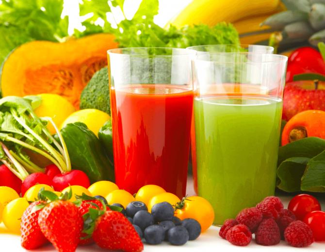 Овощные соки и фрукты