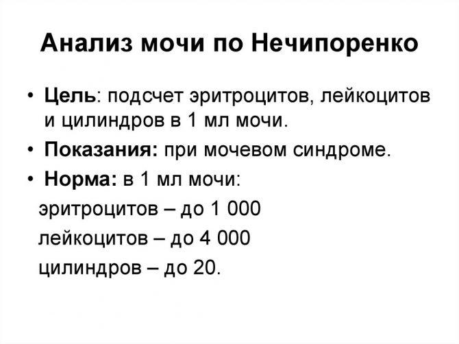Нормальные показатели анализа мочи по Нечипоренко у мужчин